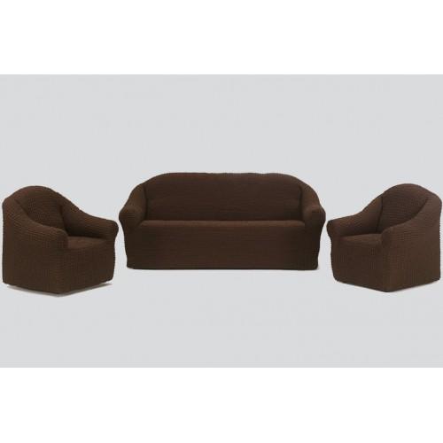 Чехол на диван и два кресла без оборки шоколад