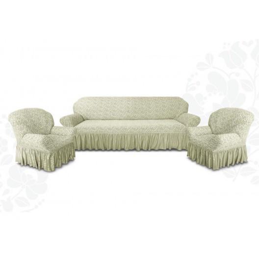 Чехлы на диван и два кресла жаккард кремовый