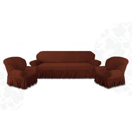 Чехлы на диван и два кресла жаккард шоколад