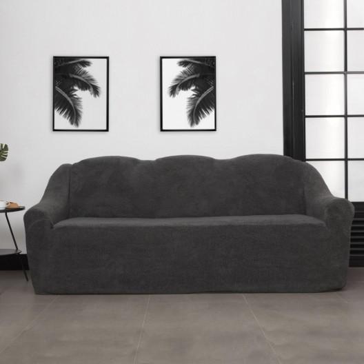 Чехол на диван плюшевый темно-серый