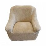Чехол на кресло плюшевый бежевый