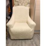 Чехол на кресло плюшевый молочный