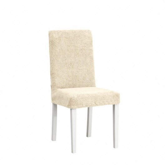 Чехол на стул плюшевый светло-бежевый