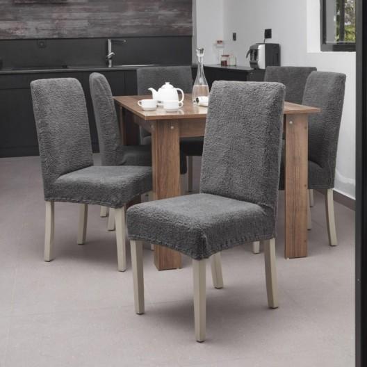 Чехол на стул плюшевый темно-серый