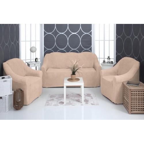 Чехол на диван и два кресла плюшевый песочный