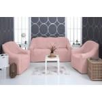 Чехол на диван и два кресла плюшевый розовый