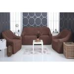 Чехол на диван и два кресла плюшевый шоколад