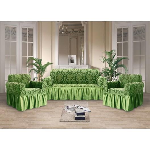 Чехол на диван стрэйтч-жаккард зеленый