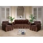 Чехол на диван стрэйтч-жаккард коричневый