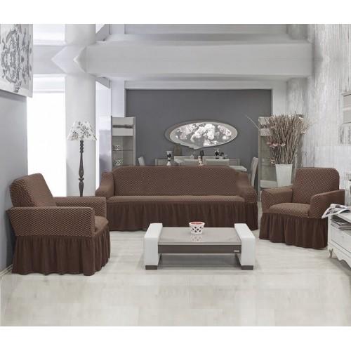 Чехлы на диван и два кресла Altinkoza соты кофейный