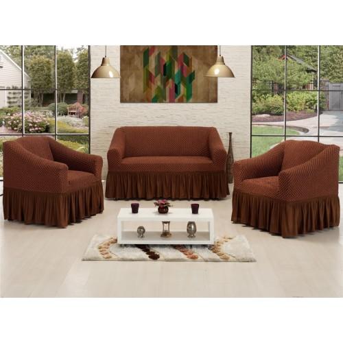 Чехлы на диван и два кресла Altinkoza соты шоколад