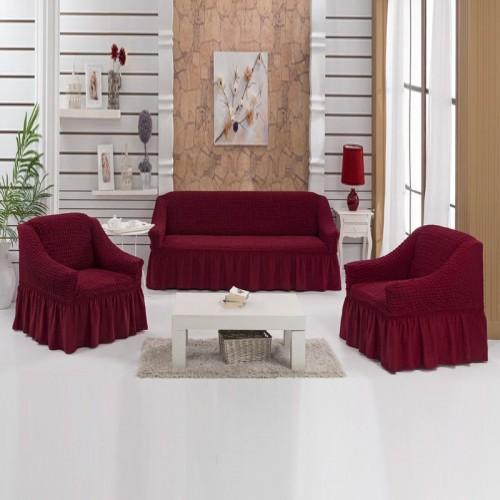 Чехлы на диван и два кресла бордо