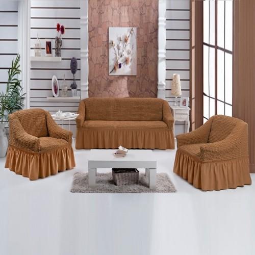 Чехлы на диван и два кресла горчичный