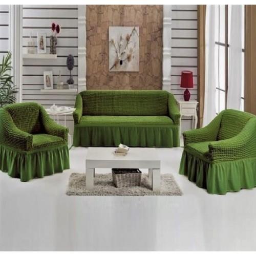 Чехлы на диван и два кресла зеленый