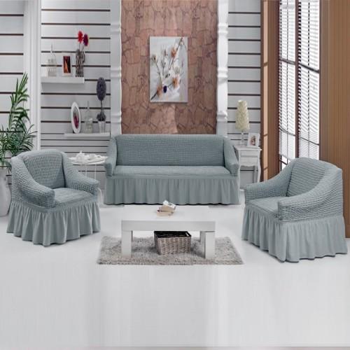 Чехол на угловой диван и кресло серый