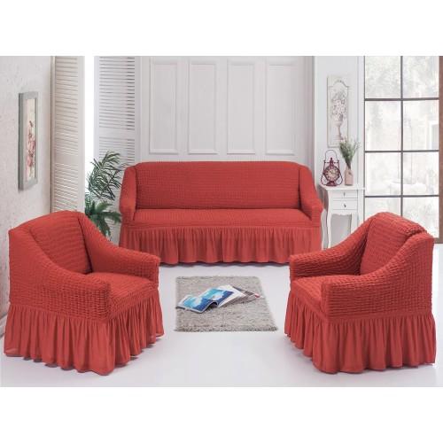 Чехлы на диван и два кресла терракотовый