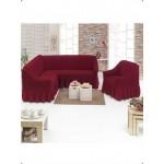 Чехол на угловой диван и кресло бордо