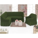 Чехол на угловой диван и кресло зеленый