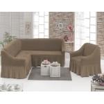 Чехол на угловой диван и кресло капучино