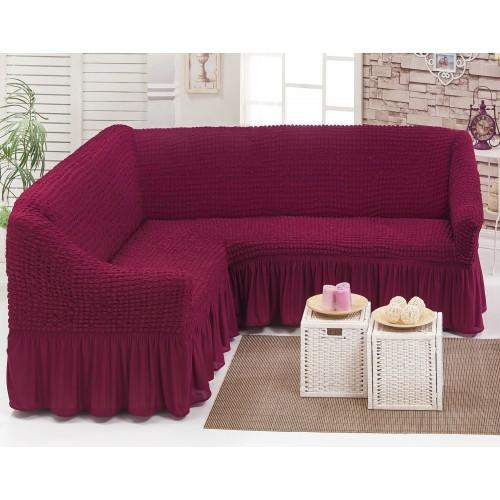Чехол на угловой диван и кресло малиновый