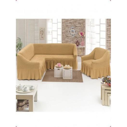 Чехол на угловой диван и кресло песочный