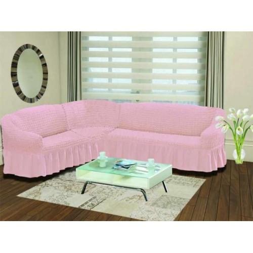 Чехол на угловой диван и кресло розовый