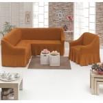 Чехол на угловой диван и кресло рыжий
