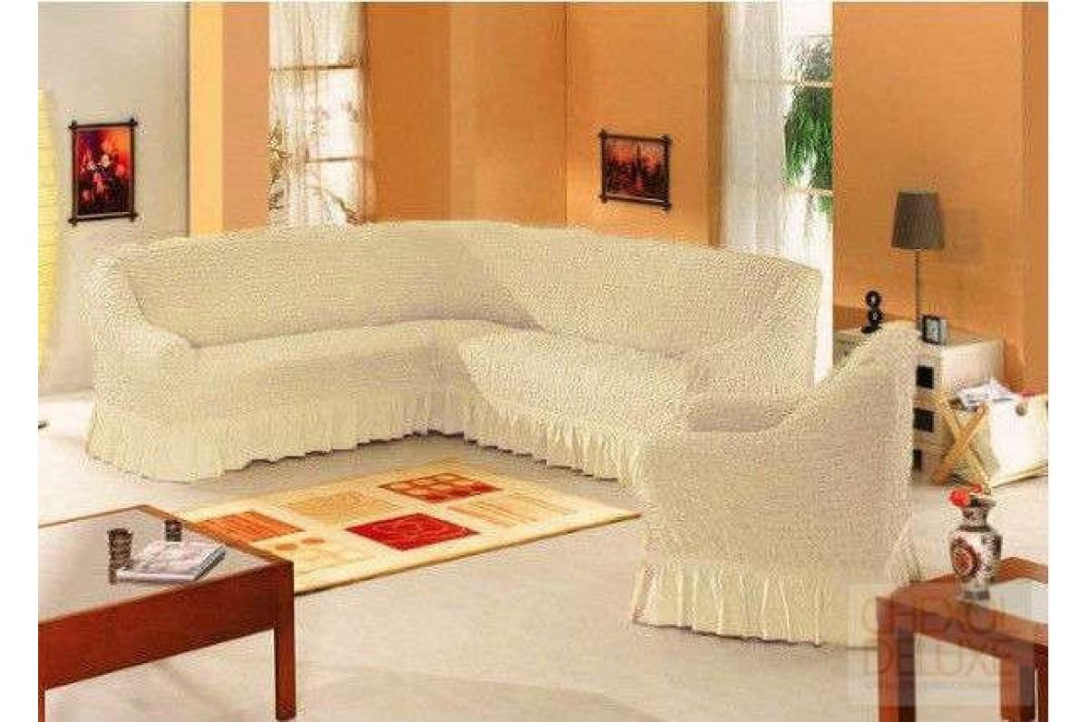 Чехол на угловой диван и кресло шампань