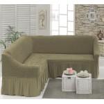 Чехол на угловой диван темно-оливковый