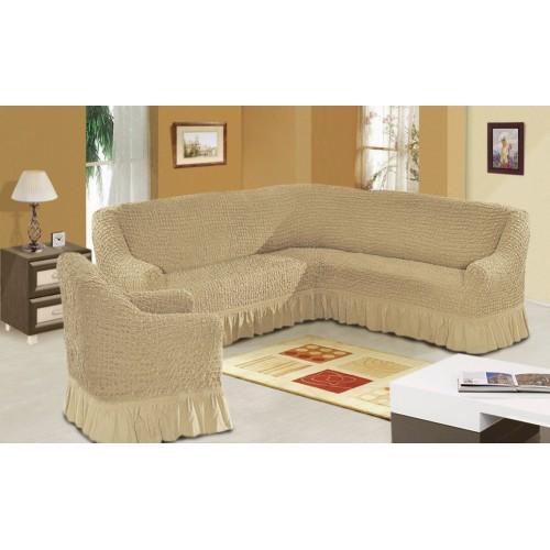 Чехол на угловой диван и кресло бежевый