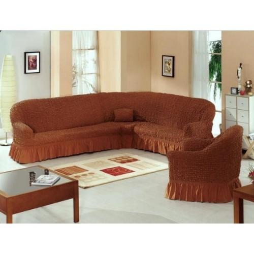 Чехол на угловой диван и кресло коричневый