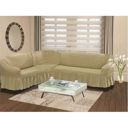 Чехол на угловой диван и кресло натуральный