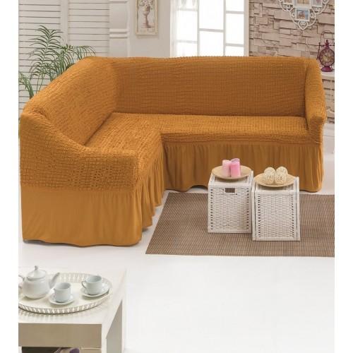 Чехол на угловой диван и кресло медовый