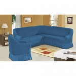 Чехол на угловой диван и кресло синий