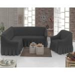 Чехол на угловой диван и кресло темно-серый