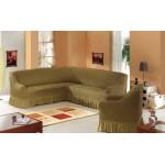 Чехол на угловой диван и кресло темно-оливковый