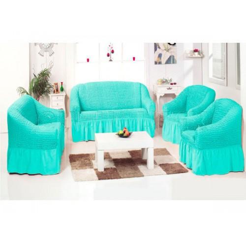 Чехол на угловой диван и кресло мятный