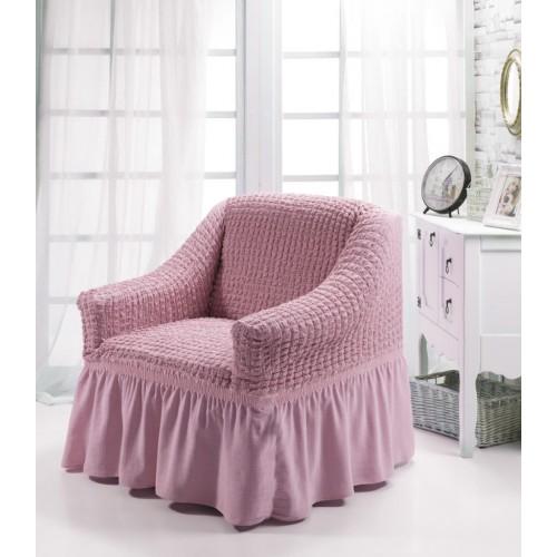 Чехол на угловой диван и кресло пыльно-розовый