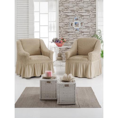 Чехол на кресло кремовый