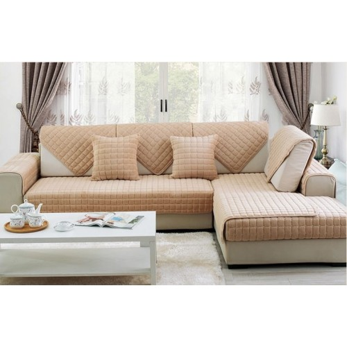 Накидка на диван (дивандек) шиншилла бежевый