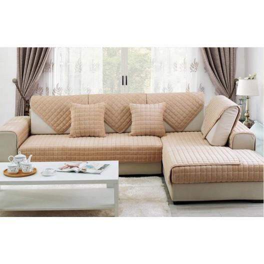 Накидка на диван и кресла (дивандек) шиншилла бежевый