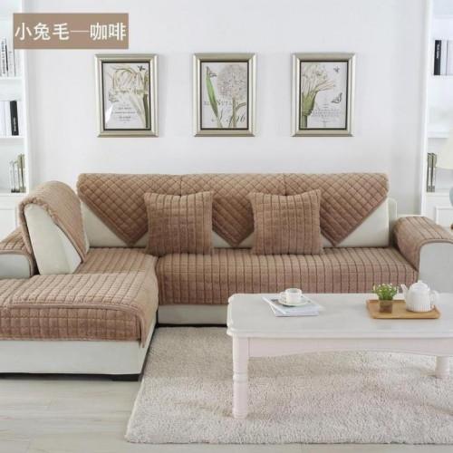 Накидка на диван и кресла (дивандек) шиншилла капучино