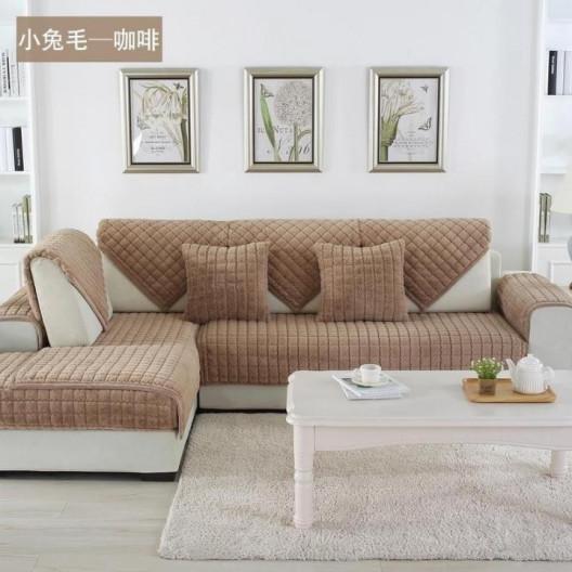 Накидка на диван (дивандек) шиншилла капучино