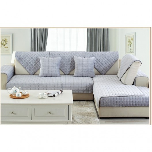 Накидка на диван (дивандек) шиншилла серый