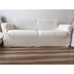 Чехол на диван плюшевый молочный