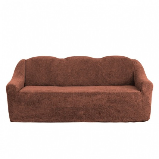 Чехол на диван плюшевый шоколад