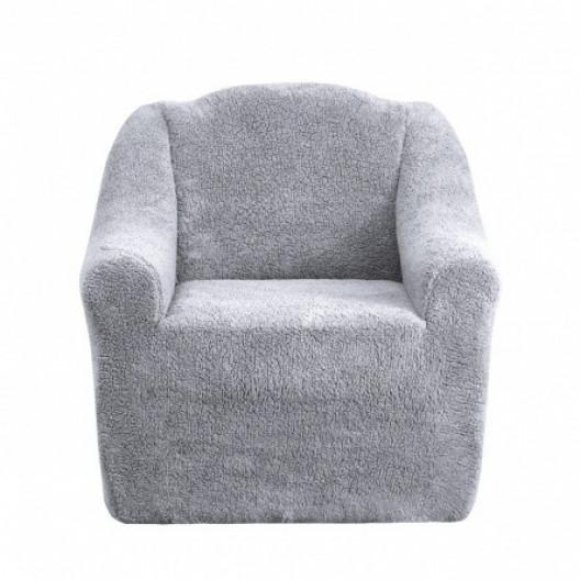 Чехол на кресло плюшевый серый