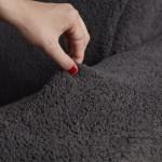 Чехол на угловой диван плюшевый темно-серый