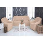 Чехол на диван и два кресла плюшевый капучино