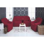 Чехол на диван и два кресла плюшевый бордовый